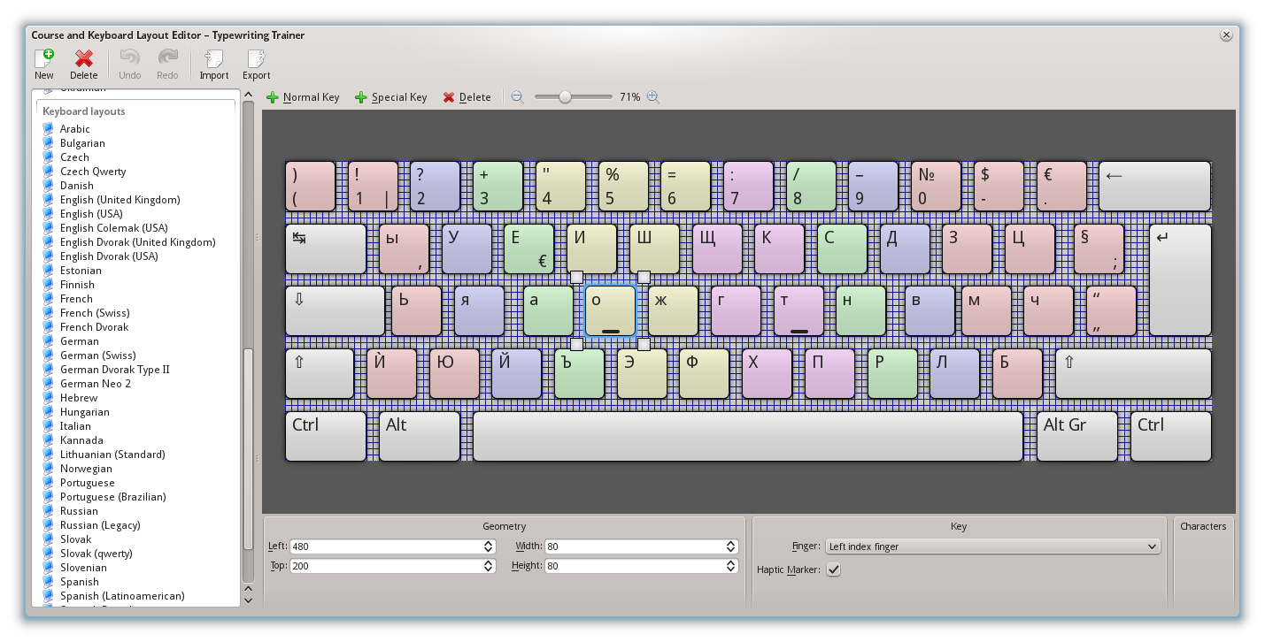 Screenshot of keyboard layout editor