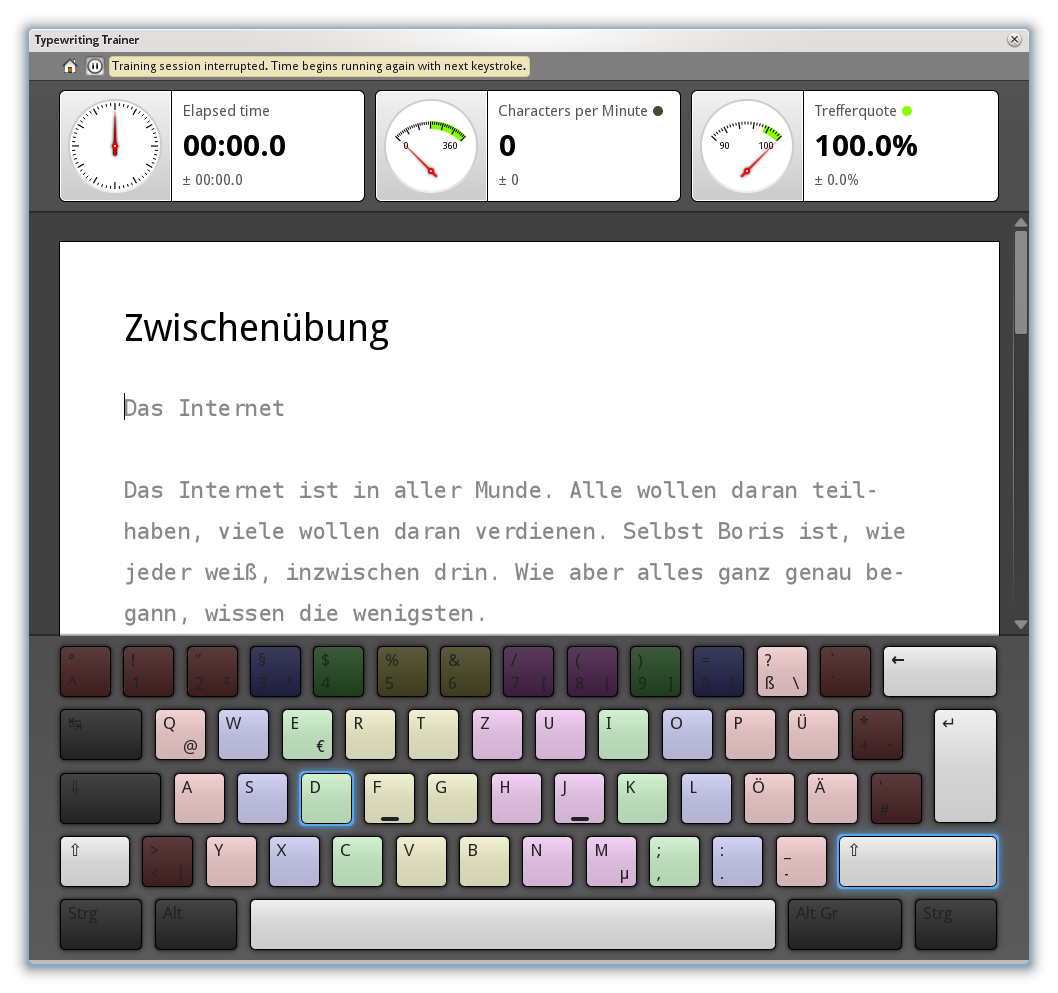 Screenshot of KTouch trainer